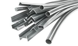 Different metal products. Metal profiles and tubes. 3d illustration Royalty Free Stock Photos