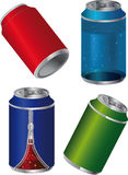 different metal tins for drinks Stock Photo