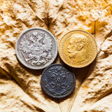 Different metals. Gold, silver and  copper coins of tsar of House of Romanov of 19-20 centuries Royalty Free Stock Image