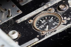 Different meters and displays in an old plane Stock Photography