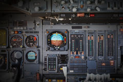 Different meters and displays in an old plane Stock Images
