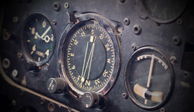Different meters and displays in an old plane Royalty Free Stock Photo
