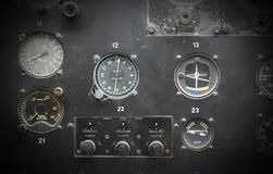 Different meters and displays in an old plane Stock Image