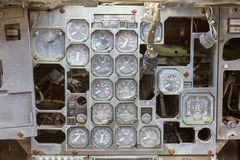 Different meters and displays in an old plane Stock Photos