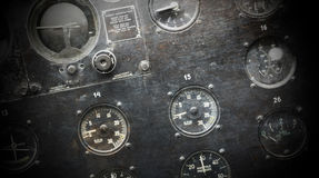 Different meters and displays in an old plane Royalty Free Stock Images