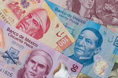 Different Mexican money background. Royalty Free Stock Photo
