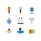 Different microphones and dictaphone vector flat icons Stock Photography