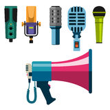 Different microphones types icons journalist vector interview music broadcasting vocal tool tv tool. Different microphones types icons journalist vector Stock Photos