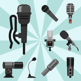 Different microphones types icons journalist vector interview music broadcasting vocal tool tv tool. Different microphones types icons journalist vector Stock Images