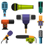 Different microphones types icons journalist vector interview music broadcasting vocal tool tv tool. Different microphones types icons journalist vector Royalty Free Stock Images