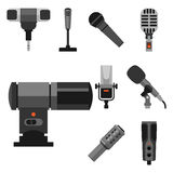 Different microphones types icons journalist vector interview music broadcasting vocal tool tv tool. Different microphones types icons journalist vector Royalty Free Stock Photo