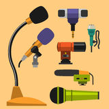 Different microphones types icons journalist vector interview music broadcasting vocal tool tv tool. Stock Images