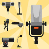 Different microphones types icons journalist vector interview music broadcasting vocal tool tv tool. Stock Image