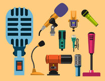 Different microphones types icons journalist vector interview music broadcasting vocal tool tv tool. Stock Photography