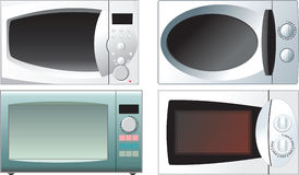 Different microwave oven. On a white background Stock Photo