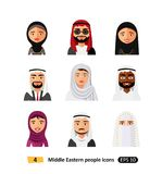 Different middle eastern people avatar set vector flat icons arab users. Isolated stock illustration