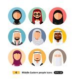 Middle eastern people avatar set vector flat icons arab users. Different middle eastern people avatar set vector flat icons arab users isolated royalty free illustration
