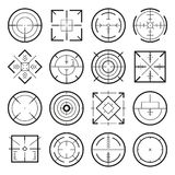 Different military targets for strategy games. Vector monochrome pictures. Collection of aim target crosshair illustration Royalty Free Stock Image