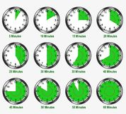 Different minutes intervals - cdr format. Different time intervals from five to sixty minutes Royalty Free Stock Photos