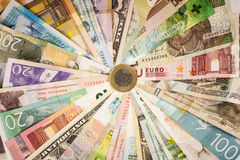 Different mixed banknotes Stock Photo