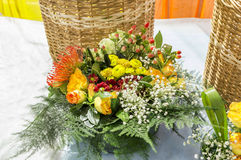 Different and mixed flowers in bouquet Stock Image
