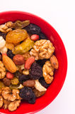 different mixed nuts and raisins Stock Photos