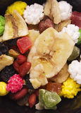 Different mixed nuts and raisins Royalty Free Stock Image