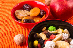 Different mixed nuts and raisins Royalty Free Stock Images