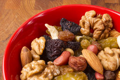Different mixed nuts and raisins Stock Image