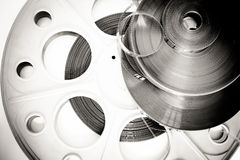 Different 35mm movie detail black and white. Background royalty free stock images