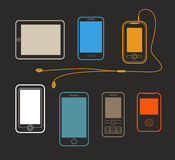 Different mobile gadgets lineart design collection Stock Image