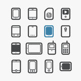 Different mobile phones icons Stock Images