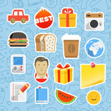 Different mobile or web application stickers Stock Photos