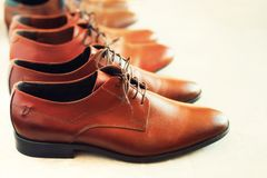 Different models and brown colors of shoes on gay background. Selective focus. Sale and shopping concept. Copy space. Banner. Classic fashion polished men`s Stock Image