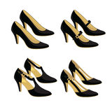 Different models of classic shoes. Vector illustration of different models of classic shoes on white background Royalty Free Stock Photo