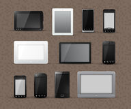 Different Models of Tablets and Smart Phones Stock Photo