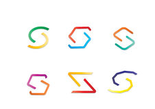 Different Modern Abstract Colorful Geometric Logo Letter S Stock Photography
