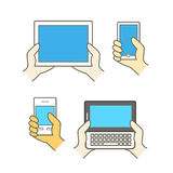 Different modern mobile gadgets Stock Photo