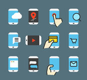 Different modern smartphone color flat icons Royalty Free Stock Images