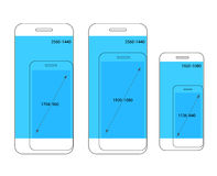 Different modern smartphone resolutions comparison Stock Image