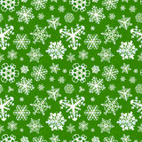 Different modern snowflakes on green background Stock Photography