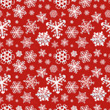Different modern snowflakes on red background Royalty Free Stock Photography