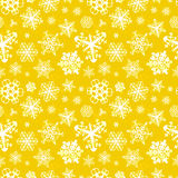 Different modern snowflakes on yellow background Royalty Free Stock Photos