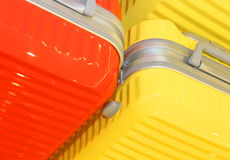 Different modern suitcases in the shop Stock Images