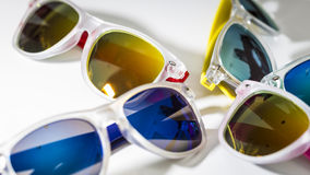 Different modern sunglasses close up  on a white background Stock Photo