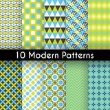 Different modern vector seamless patterns. 10 Different modern vector seamless patterns. Texture can be used for printing onto fabric and paper or scrap booking Stock Photo