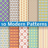 Different modern vector seamless patterns. 10 Different modern vector seamless patterns (tiling). Texture can be used for printing onto fabric and paper or scrap Royalty Free Stock Photos