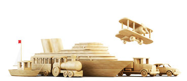 Different modes of transport. Conceptual 3d image. stock illustration