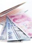 Different money bills and saving account passbook Stock Photos
