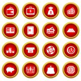 Different money icon red circle set. Isolated on white background Royalty Free Stock Photo